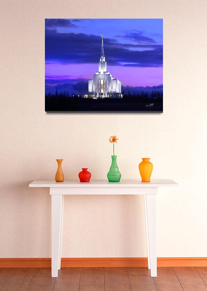 """""""Oquirrh Mountain Temple Sunset""""  (2009) by lightvoyages"""