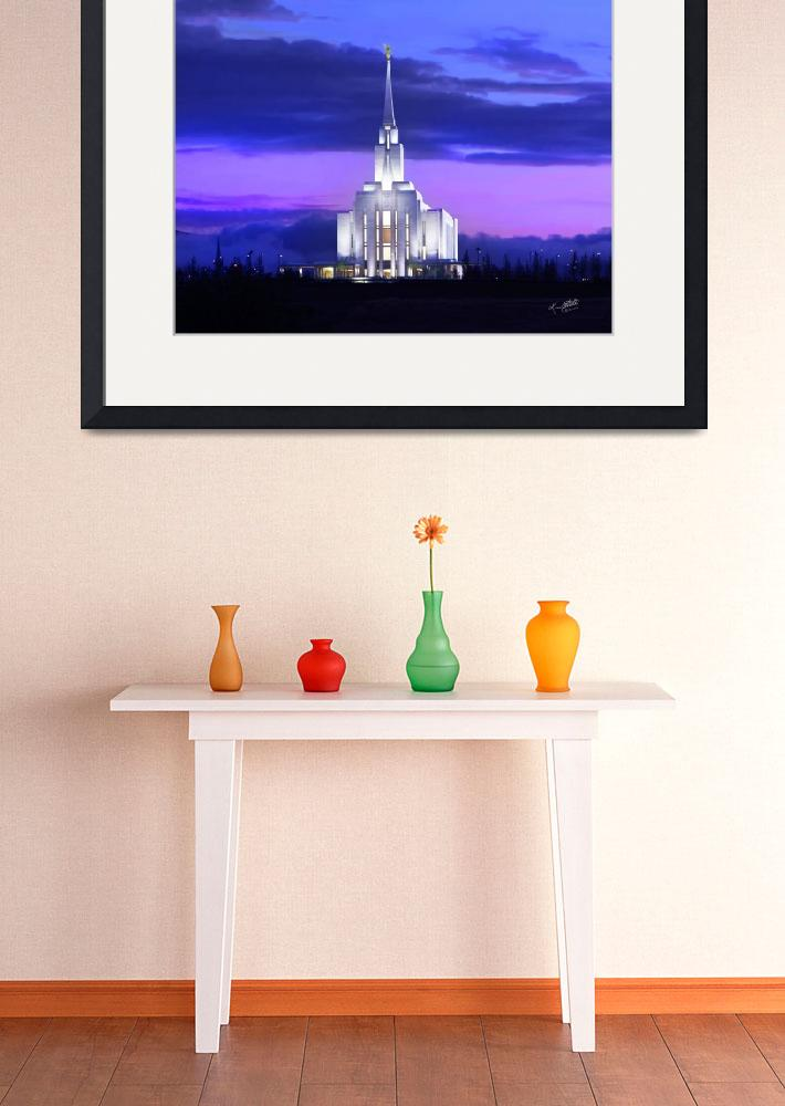 """""""Oquirrh Mountain Temple Sunset&quot  (2009) by lightvoyages"""