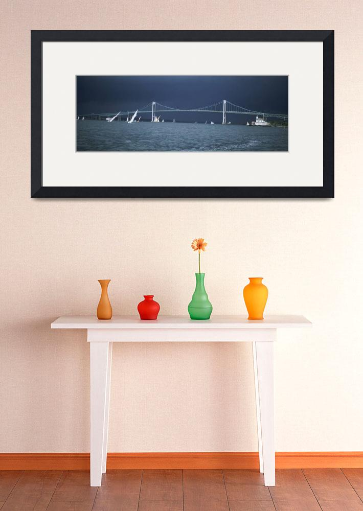 """""""A storm approaches sailboats racing past Rose Isl&quot  by Panoramic_Images"""