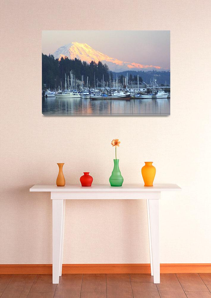 """""""Gig Harbor & Mt Rainier at Sunset&quot  by reynolds"""