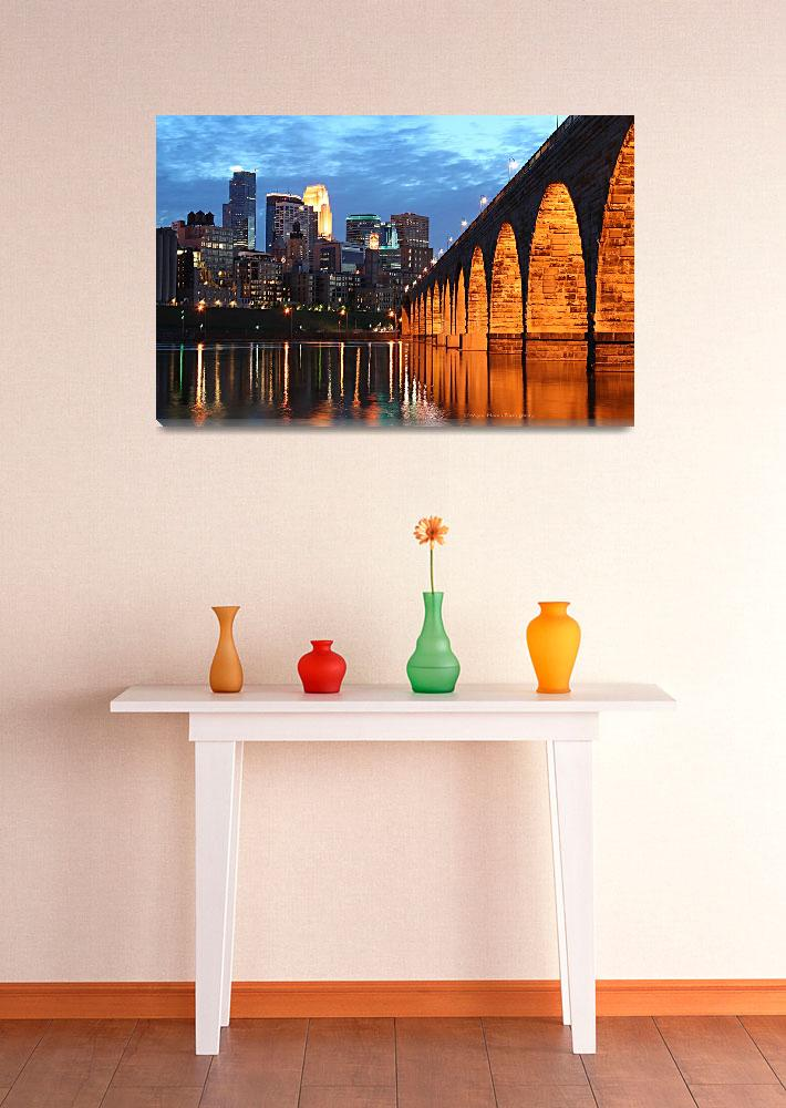 """Minneapolis Skyline Photography Stone Arch Bridge&quot  (2006) by WaynePhotoGuy"