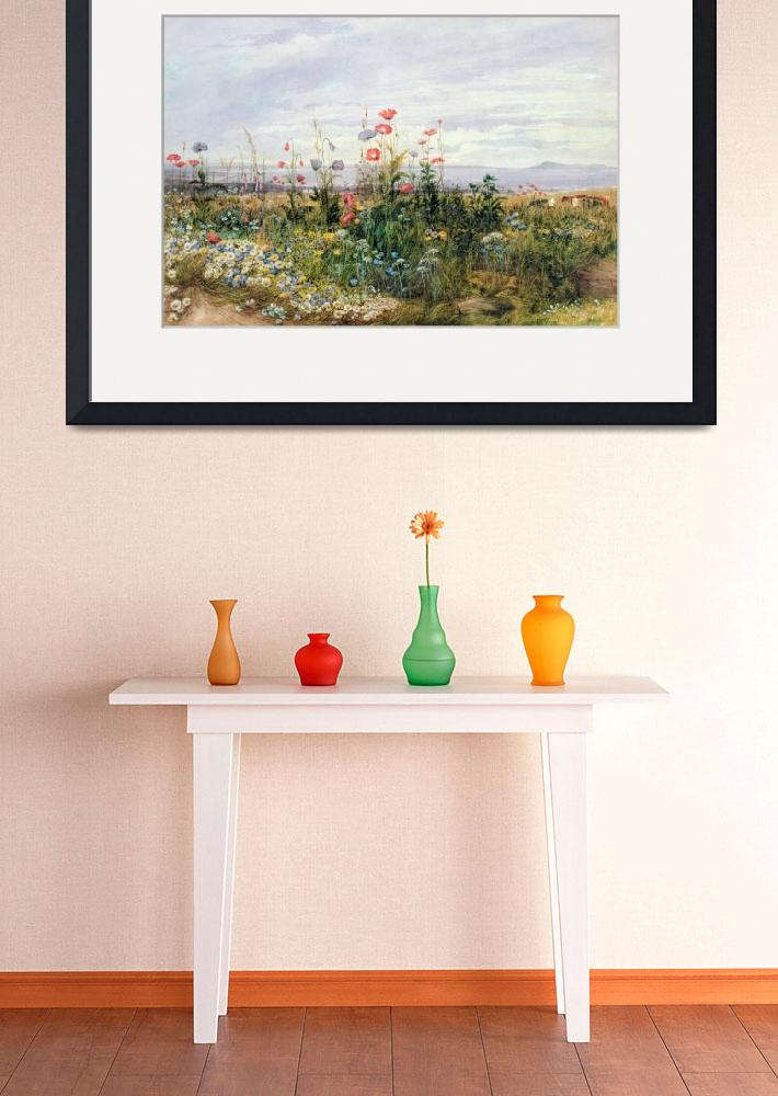 """Wildflowers with a View of Dublin Dunleary (w/c on""  by fineartmasters"