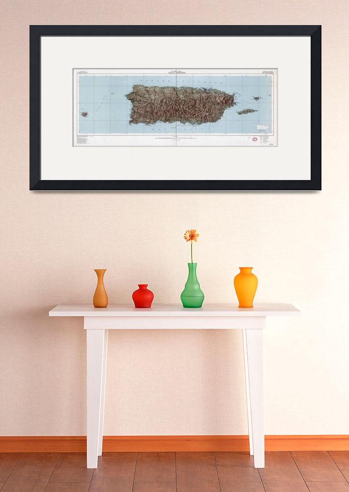"""""""Vintage Map of Puerto Rico (1952)&quot  by Alleycatshirts"""