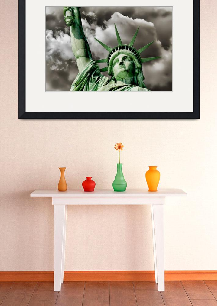 """""""Lady Liberty braces against a turbulent sky Poster&quot  by New-Yorkled"""