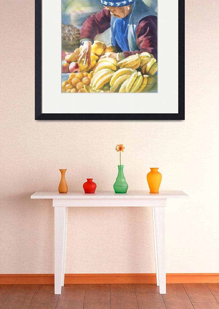 """Her Fruit Stand&quot  (2010) by Pacific-NW-Watercolors"