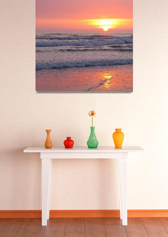 """""""Sunset off the Pacific Ocean""""  (2010) by meaganjdesign"""