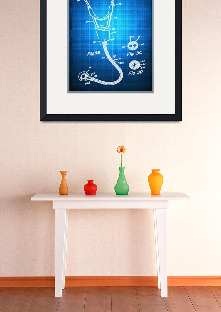 """Doctor Stethoscope 2 Patent Blueprint Drawing Sepi""  by RubinoFineArt"