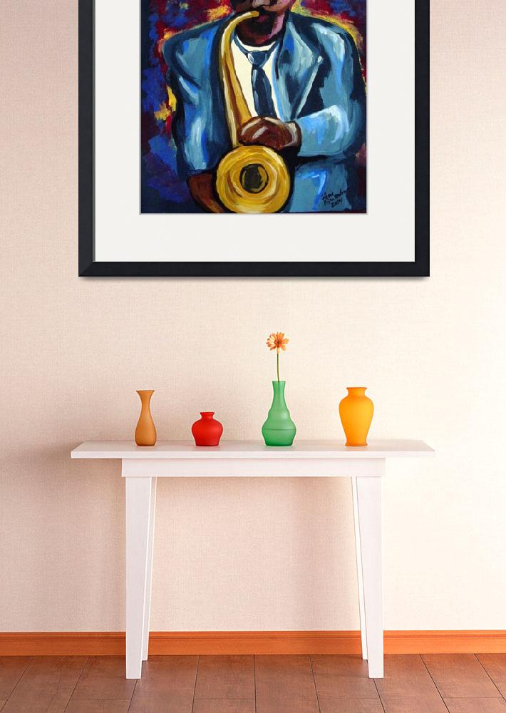 """Sax Player in Blue""  (2005) by reniebritenbucher"