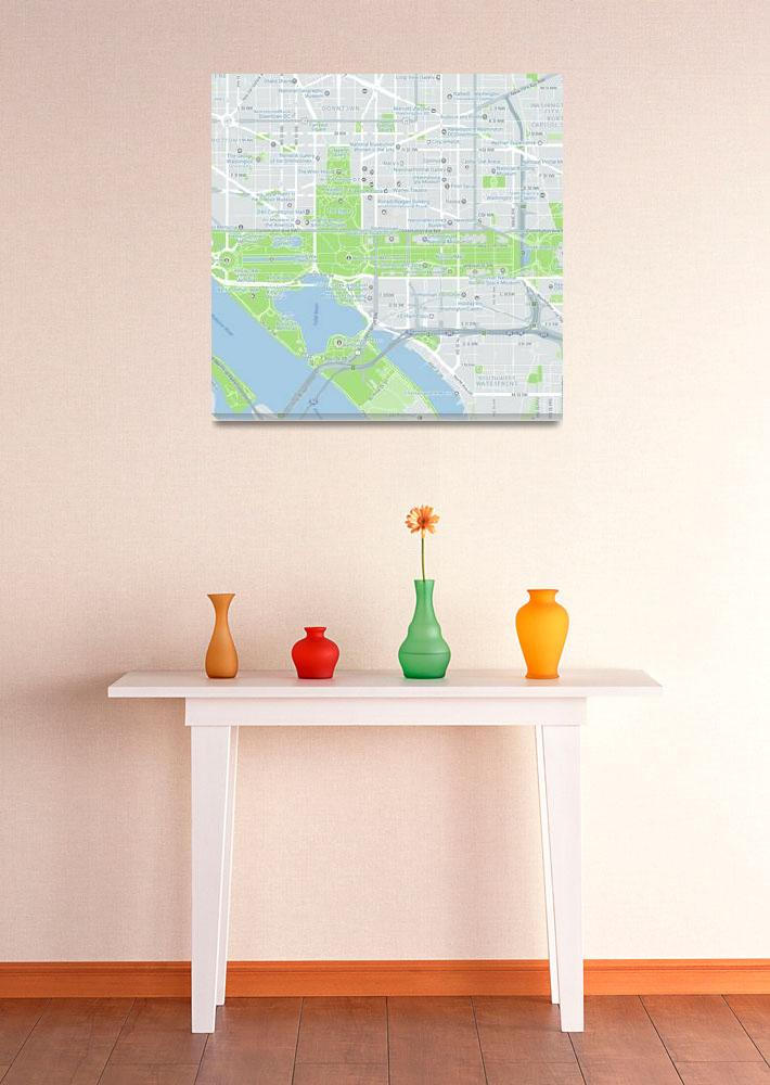 """Minimalist Modern Map of Washington DC, USA, Monum""  by motionage"