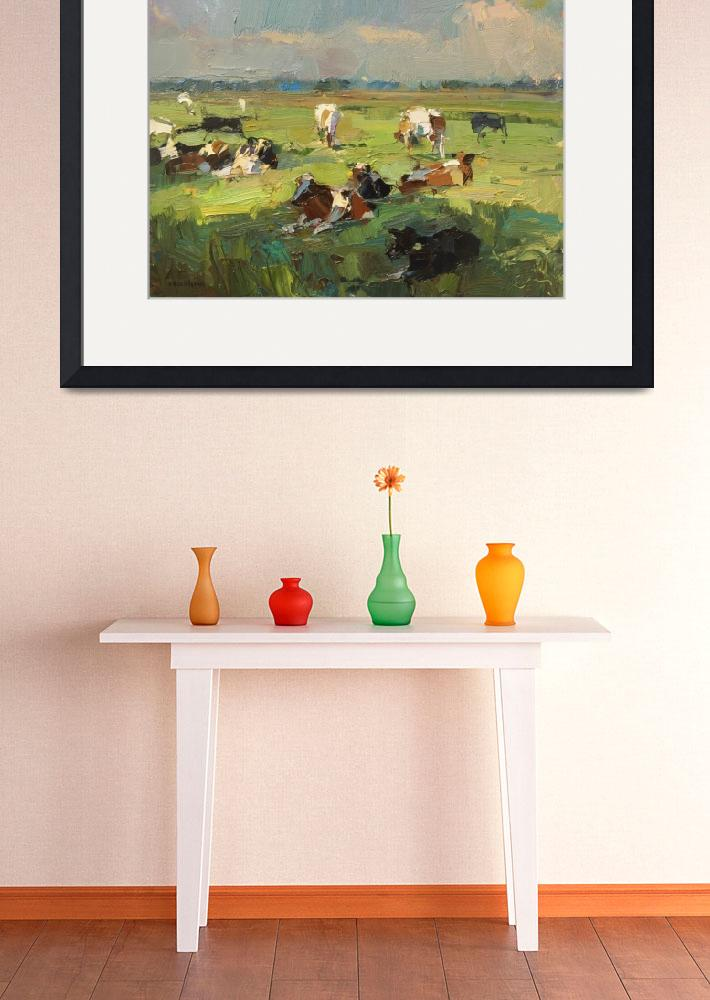 """Sunny Day - Cows Resting - Painting Roos Schuring&quot  by rschuring"