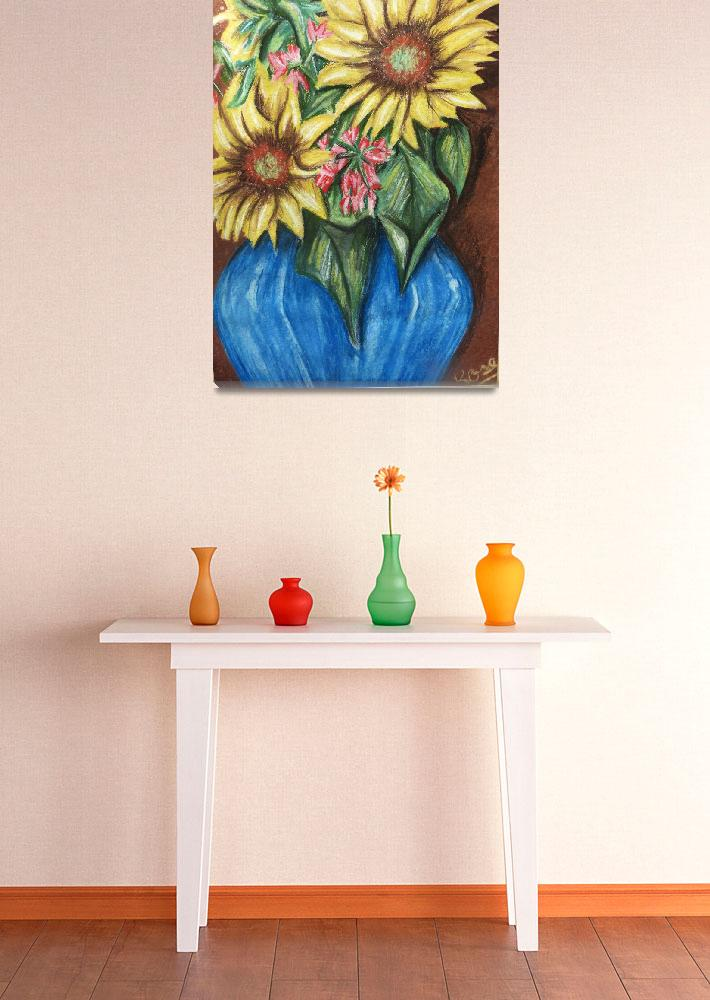 """Sunflowers in Blue Vase&quot  (2009) by AranyaSpider16"