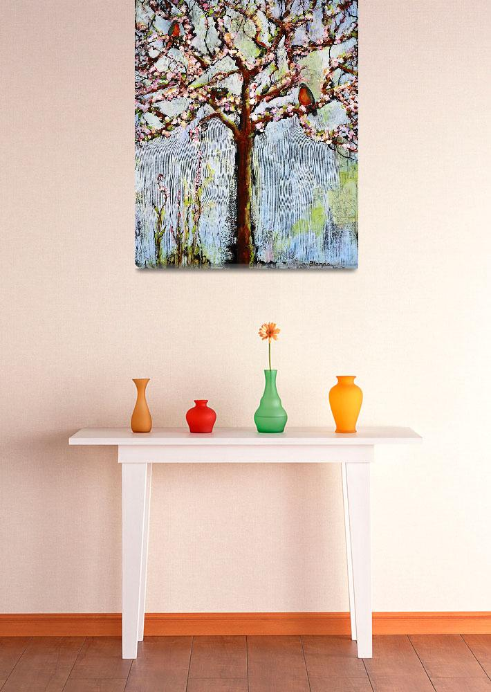 """""""Tree With Blossoms and Robins Art&quot  (2011) by BlendaStudio"""