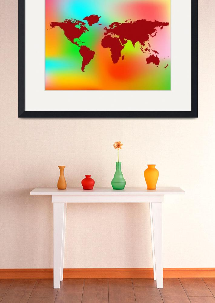 """world map and abstract background&quot  by robertosch"