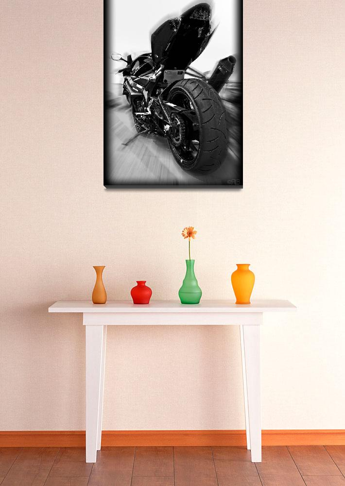 """""""Suzuki GSXR Motorcycle Zoomed Black and White""""  (2009) by palmsrick"""