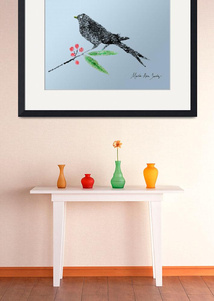 """""""Decorative Black Bird and red Berries on Blue Back&quot  (2015) by MasArtStudio"""