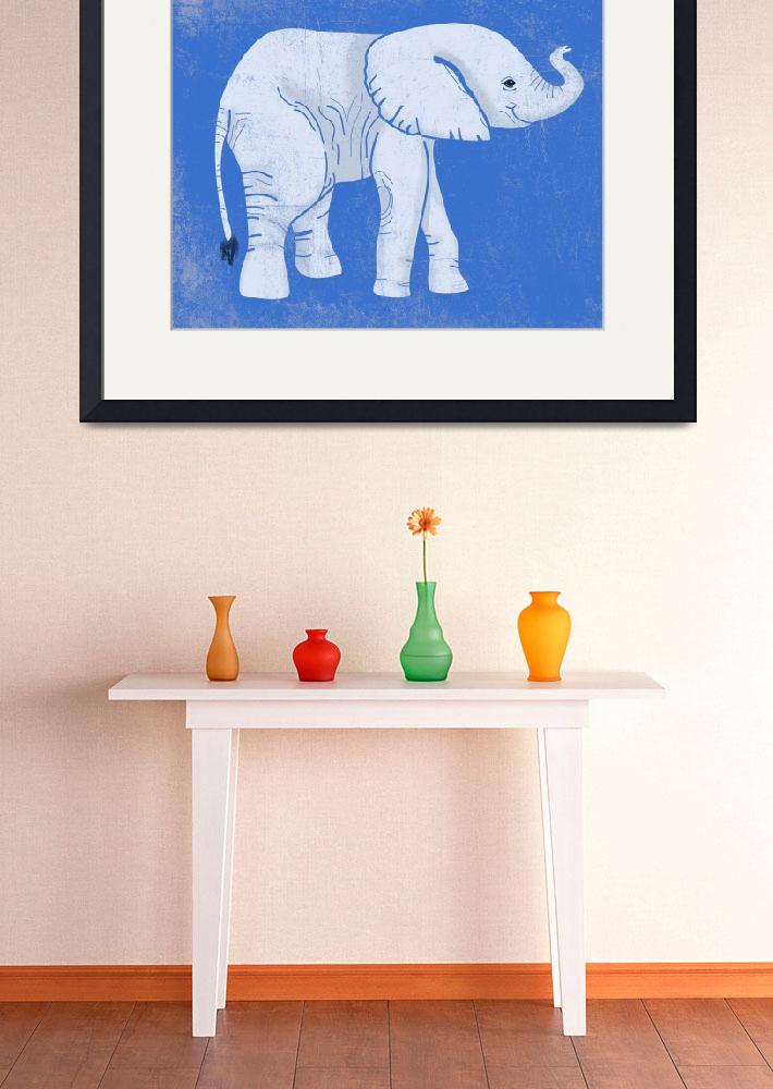 """""""Baby Elephant in Blue""""  (2014) by Littlepig"""