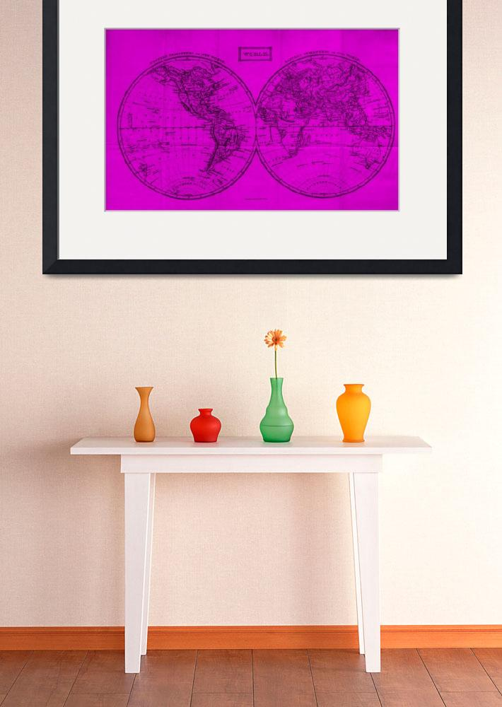 """""""Vintage Map of The World (1857) Pink & Black""""  by Alleycatshirts"""