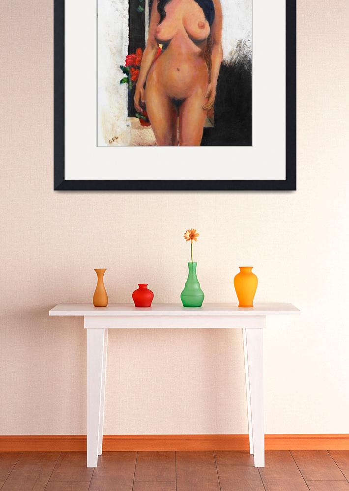 """FEMALE NUDE STANDING WITH RED BEGONIA&quot  by grl"