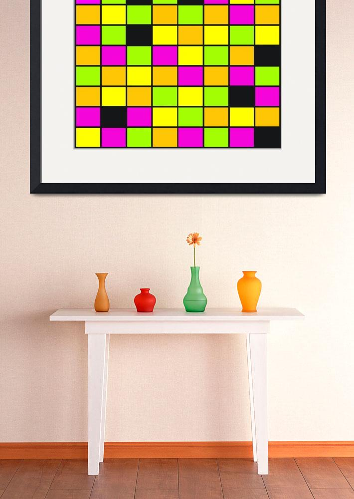 """Brightly Neon Colored Squares Pattern&quot  (2015) by ValeriesGallery"