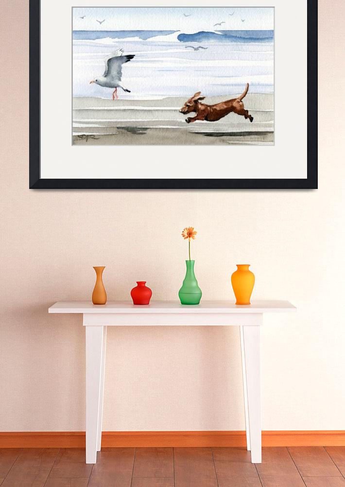 """Dachshund at the Beach chasing seagull&quot  (2015) by k9artgallery"