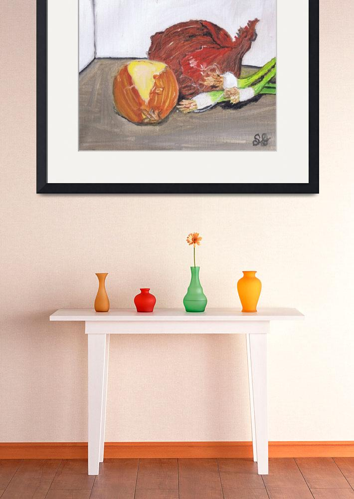 """""""white onion, red onion, and green onion, still lif&quot  (2015) by artprintsgalore"""