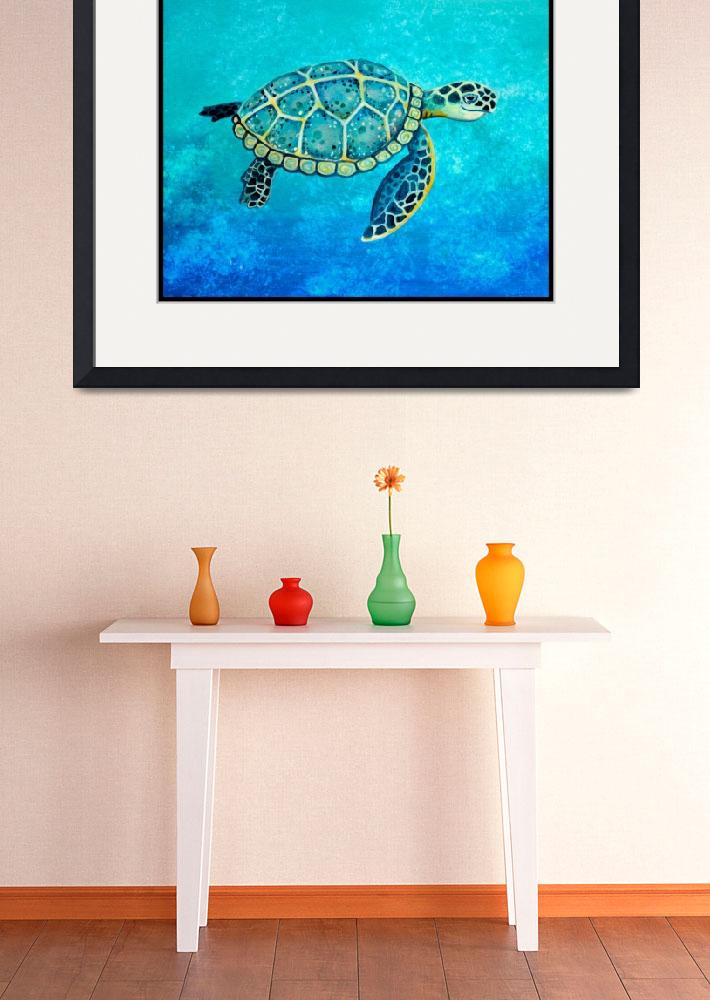"""""""Swimming Sea Turtle&quot  (2014) by Littlepig"""