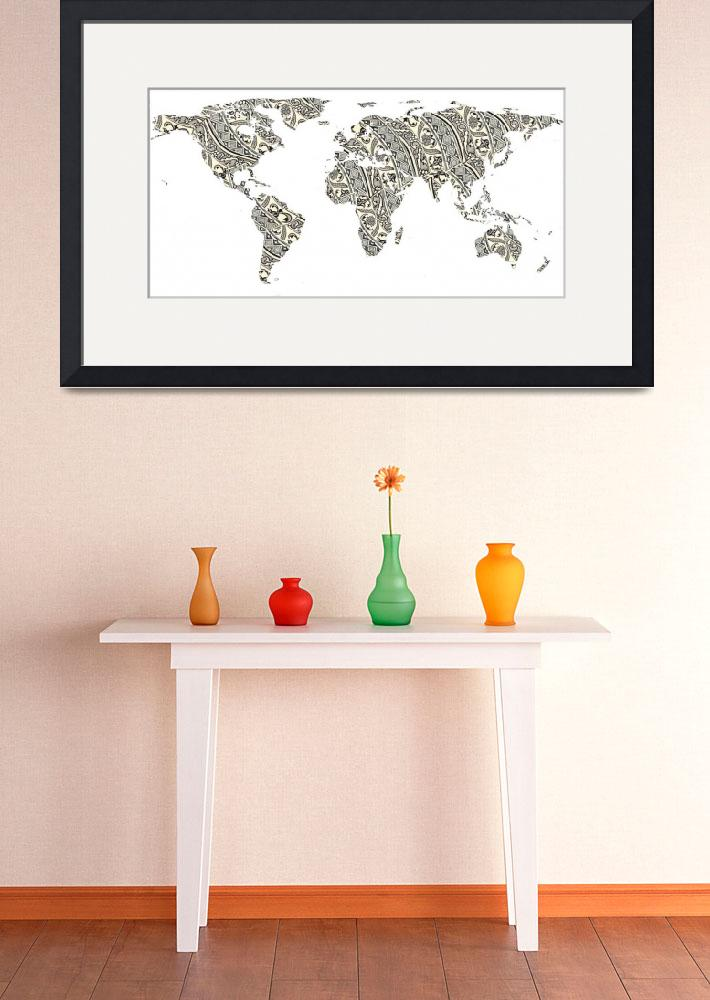 """""""World Map Silhouette - Patterned Mandala 03""""  by Alleycatshirts"""