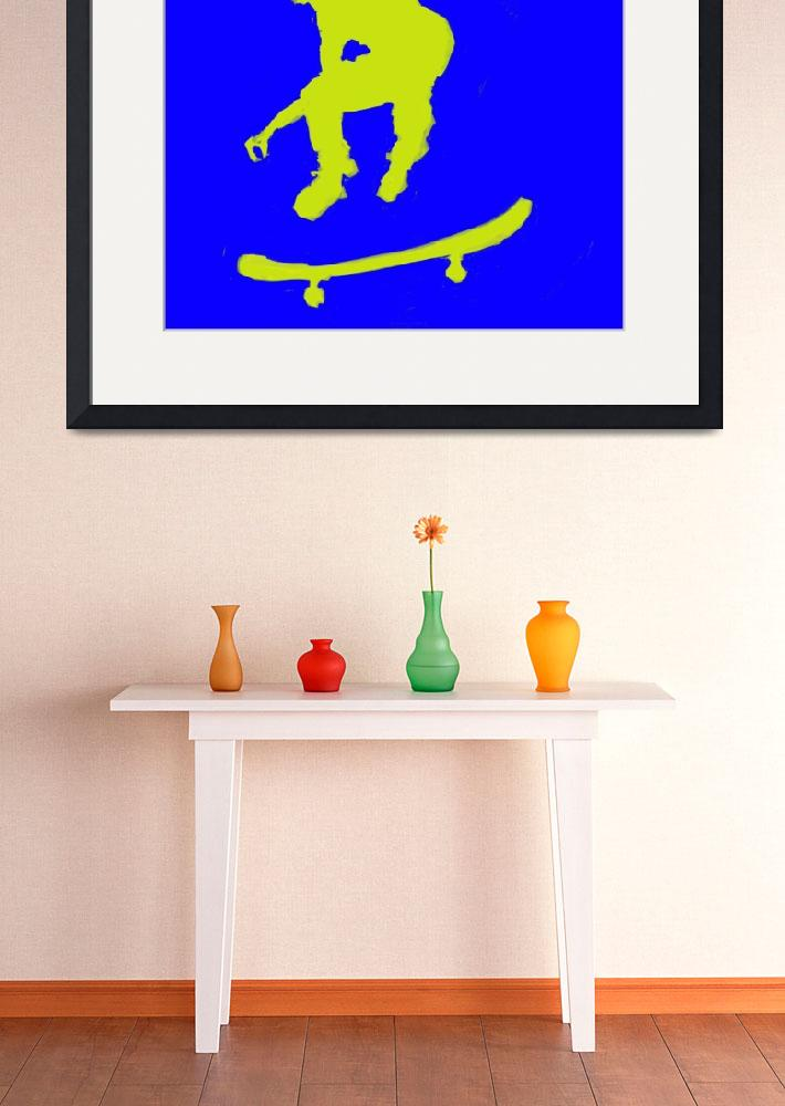 """Skateboarder 3 . blue yellow (c)&quot  (2014) by edmarion"