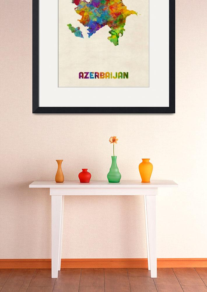 """Azerbaijan Watercolor Map&quot  (2016) by ModernArtPrints"