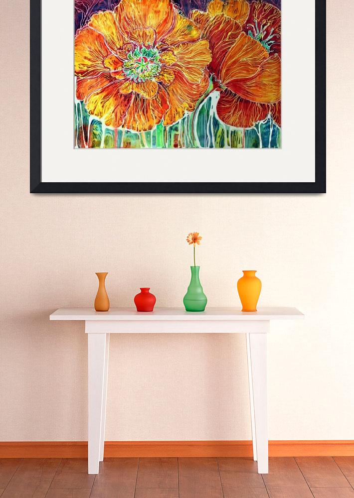 """""""Poppies in Batik on Canvas ~ An original by Marcia&quot  (2011) by MBaldwinFineArt2006"""