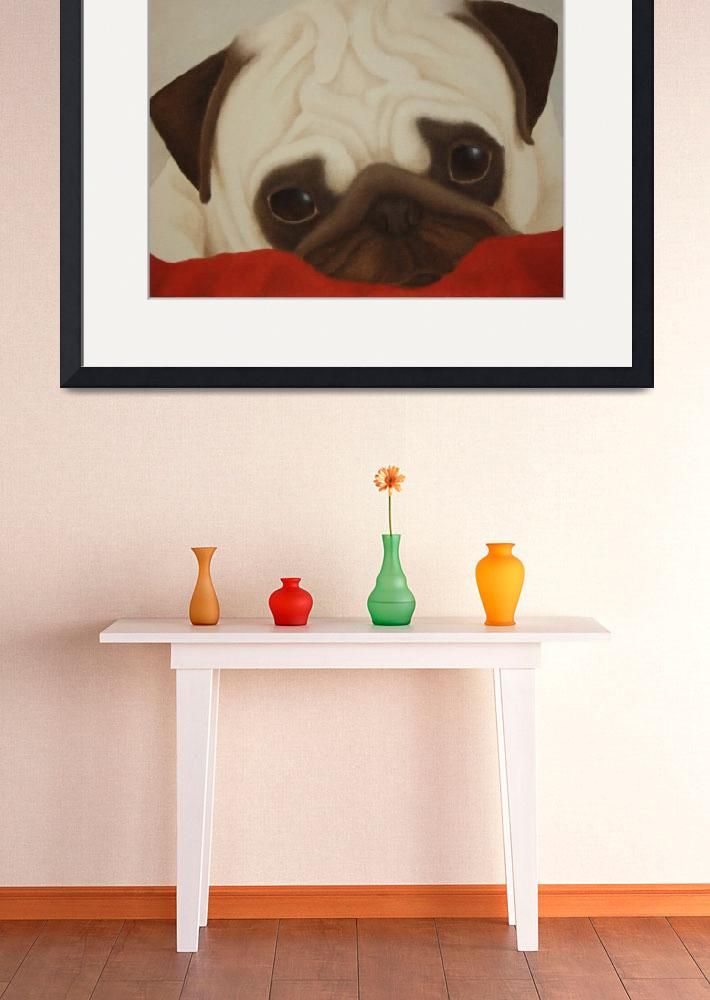 """Pug on Red Blanket&quot  (2015) by terrimeyers"