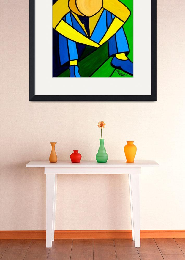 """""""""""Man in Blue Green and Yellow"""" orignal acrylic pai&quot  (2008) by marnold"""