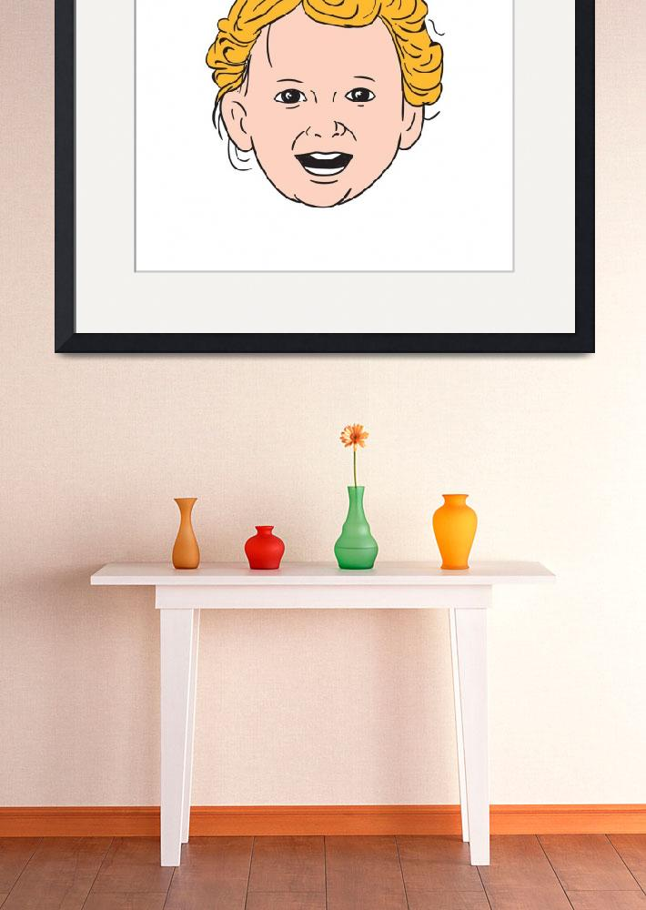 """""""Blonde Caucasian Toddler Head Smiling Drawing&quot  (2016) by patrimonio"""