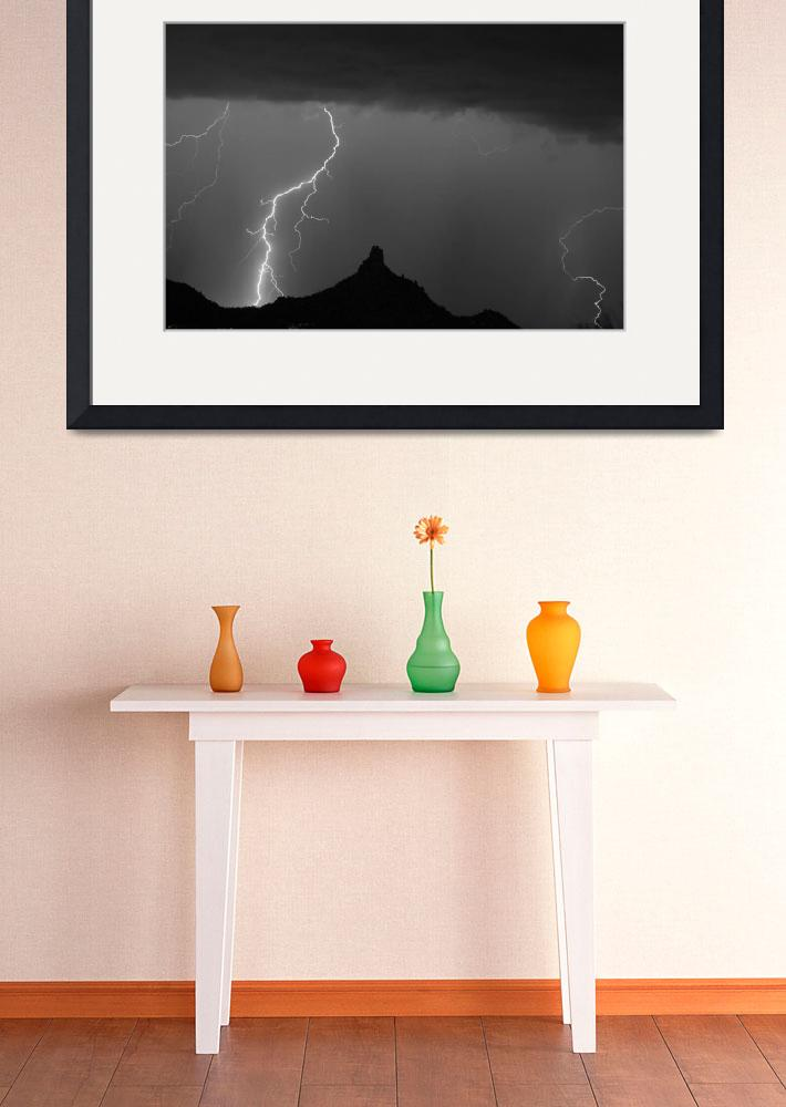 """Lightning Storm At Pinnacle Peak AZ BW""  (2010) by lightningman"