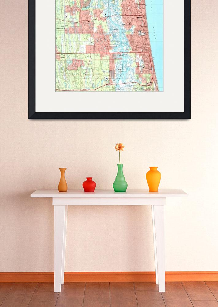 """""""Jacksonville Beach and Atlantic Beach Florida Map&quot  by Alleycatshirts"""