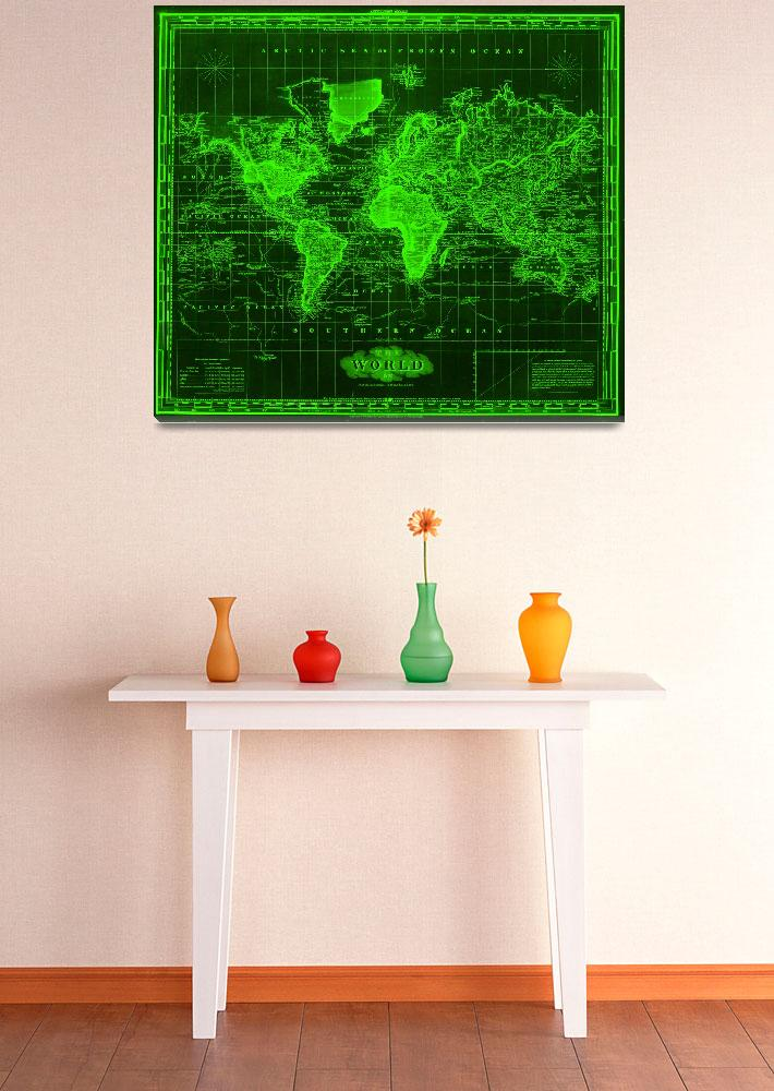 """""""Vintage Map of The World (1833) Black & Green""""  by Alleycatshirts"""