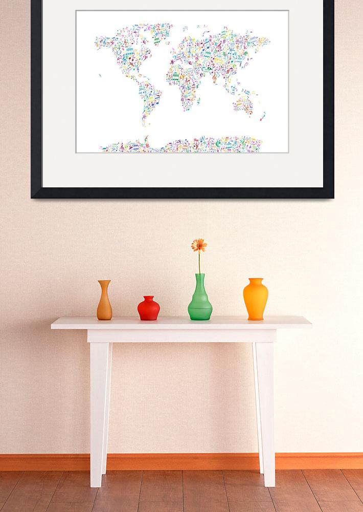 """Music Notes Map of the World&quot  (2013) by ModernArtPrints"
