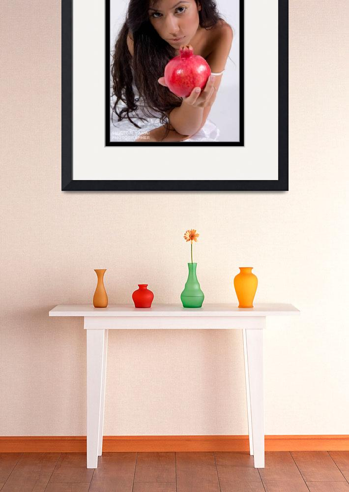 """""""Girl giving red pomegranate""""  (2009) by sharonphoto"""