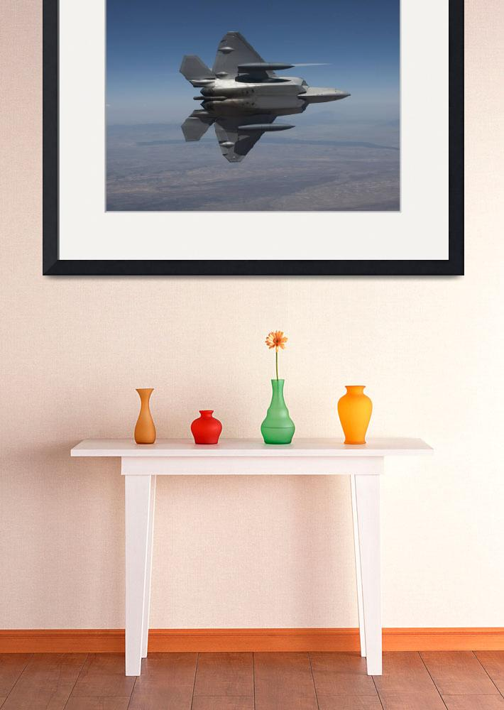 """""""An F-22 Raptor maneuvers while flying a training m""""  by stocktrekimages"""