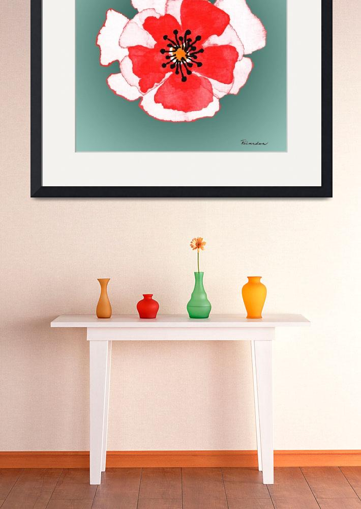 """""""Expressive Red Pink and Green Poppy Floral Macro&quot  (2014) by Ricardos"""