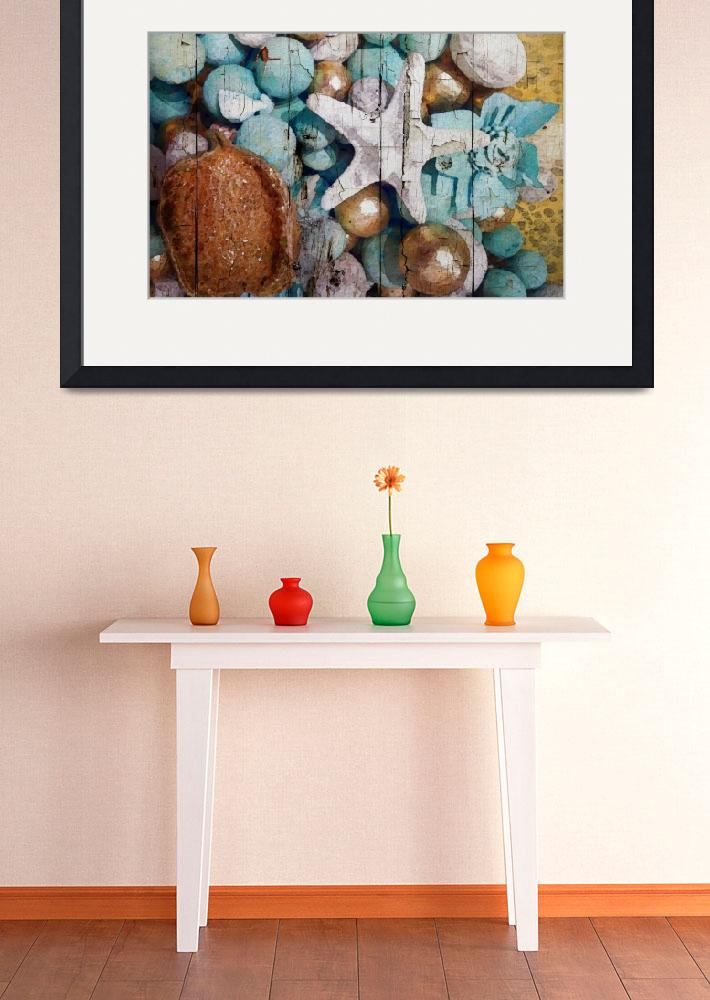 """""""ORL-5220-1 Blue and Gold Shell Decor&quot  by Aneri"""