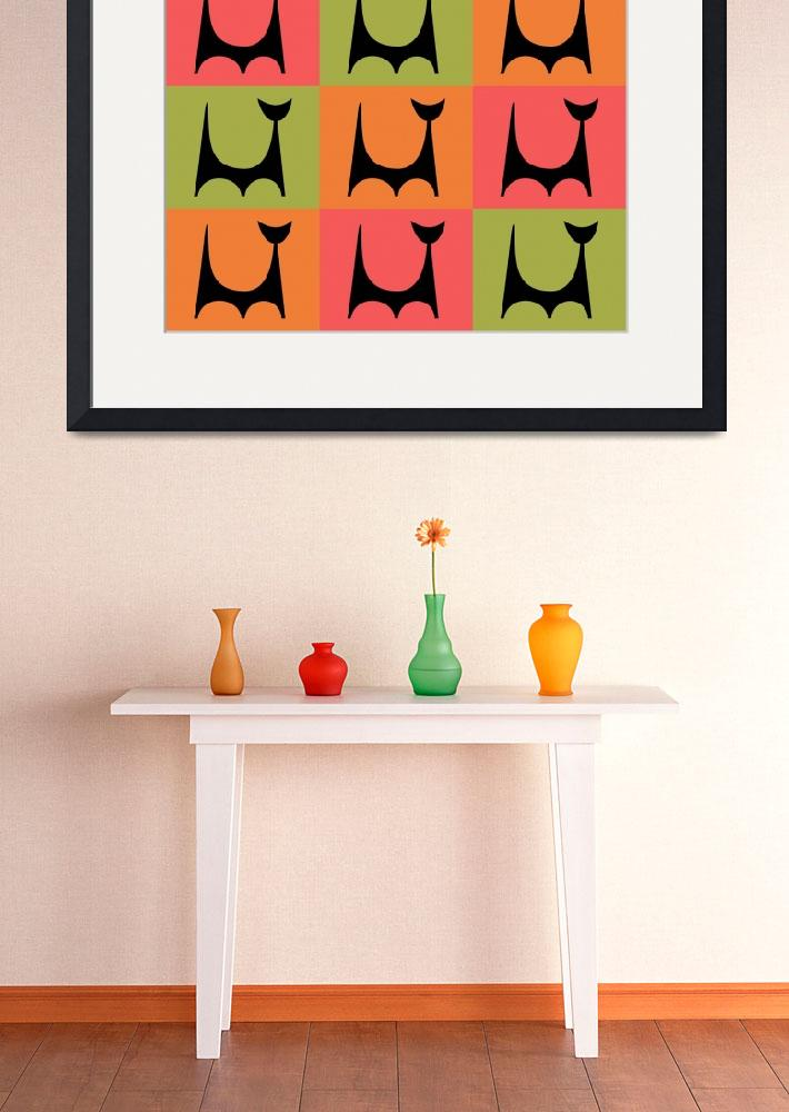 """Abstract Cat 2 pink orange green&quot  by DMibus"
