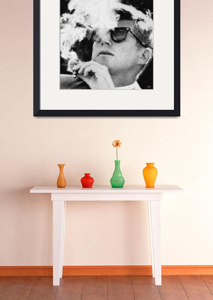 """""""John F Kennedy Cigar and Sunglasses Black And Whit""""  by RubinoFineArt"""