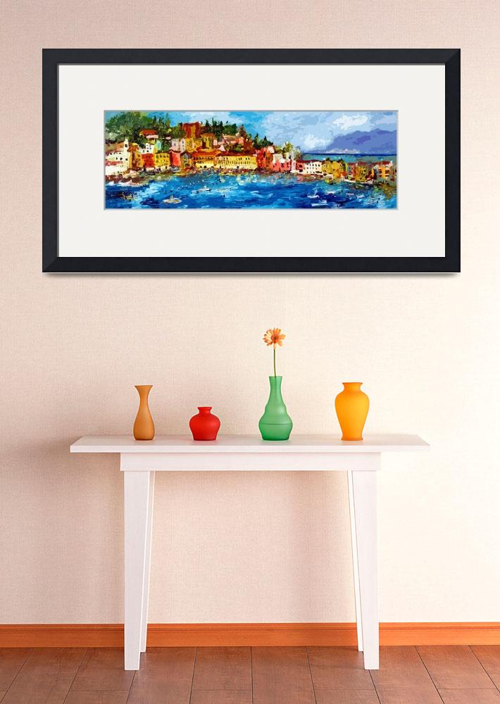 """Abstract Panoramic Italian Seascape Sestri Levante&quot  (2013) by GinetteCallaway"