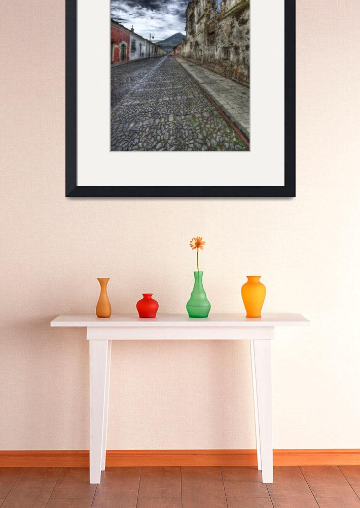 """""""Cobbled Street and Volcano&quot  (2008) by dawilson"""
