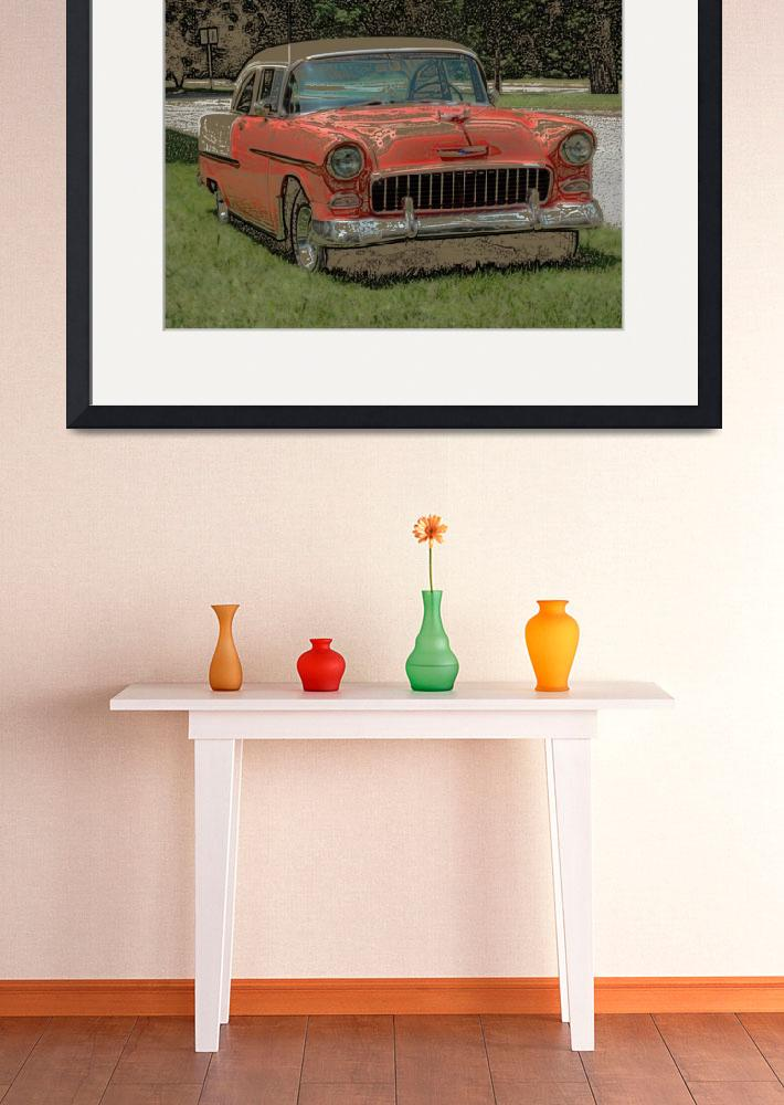"""""""1955 Chevy Bel Air with """"Colored Pencil"""" Effect&quot  (2009) by Ffooter"""