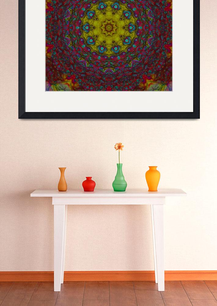 """""""Red and Yellow Organic Abstract Tile 35 Framed&quot  by bloomingvinedesign"""