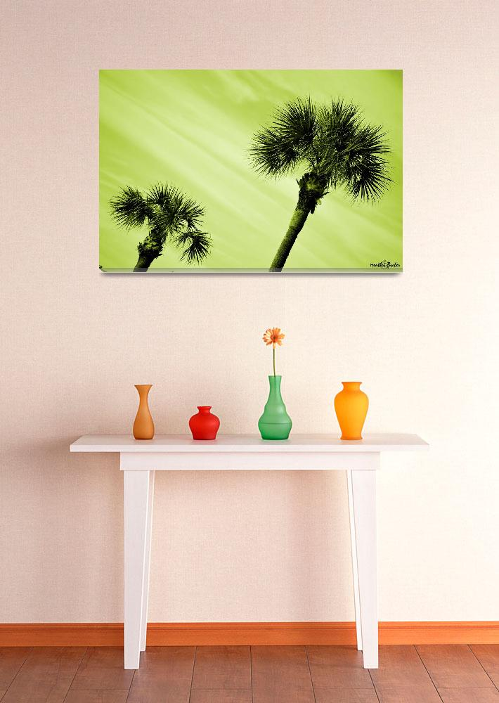 """""""Palm Trees in Green""""  (2013) by hbeaber"""