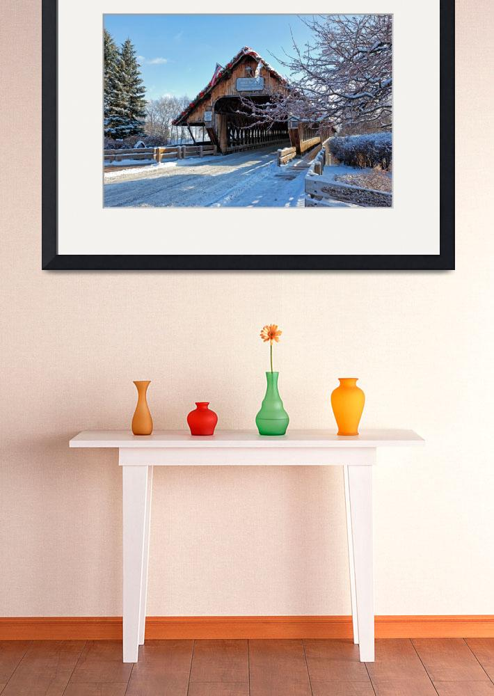 """""""Wooden Covered Bridge in Winter - Frankenmuth, MI&quot  (2013) by sterk"""