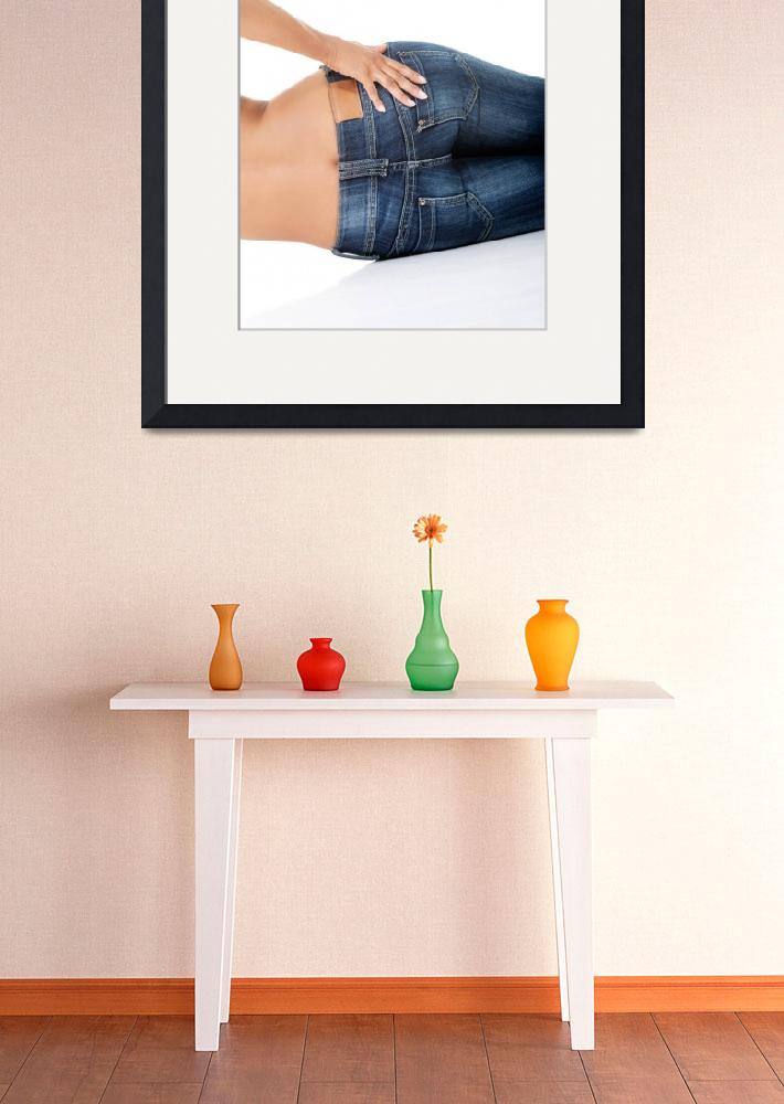 """Fit female butt in blue jeans, isolated on white&quot  by Piotr_Marcinski"